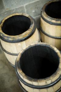 three charred barrels